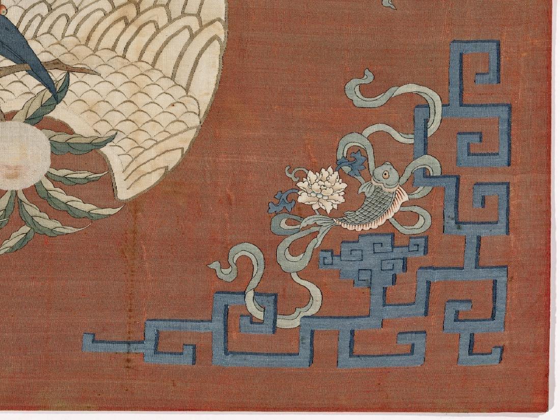 A KESI SILK WALL PANEL WITH MANCHURIAN CRANE, QING - 5