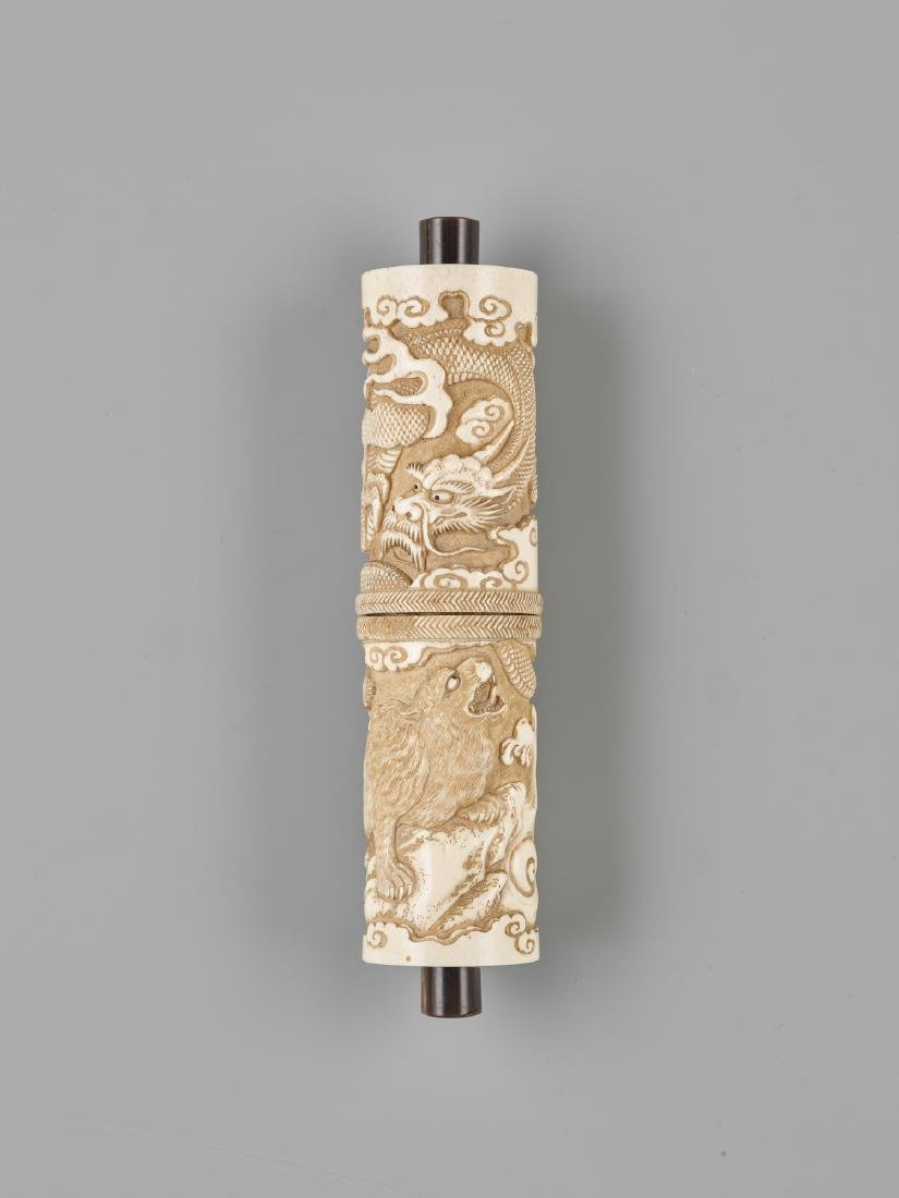 A JAPANESE STAG ANTLER SCROLL CASE FOR A BUDDHIST SUTRA