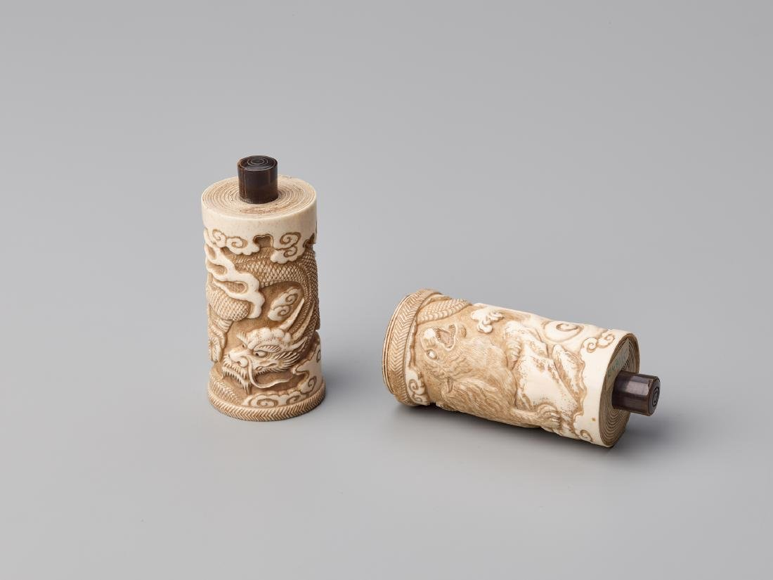 A JAPANESE STAG ANTLER SCROLL CASE FOR A BUDDHIST SUTRA - 2