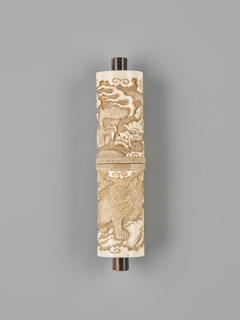 A JAPANESE STAG ANTLER SCROLL CASE FOR A BUDDHIST SUTRA - 3
