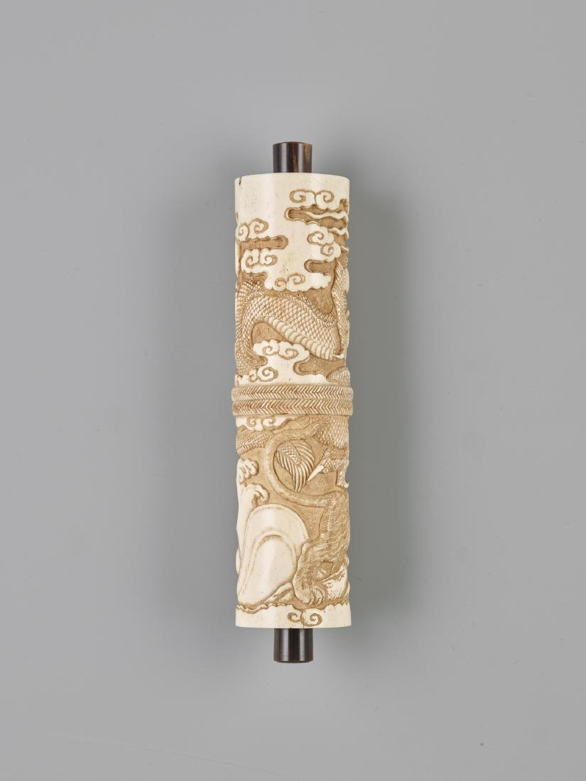 A JAPANESE STAG ANTLER SCROLL CASE FOR A BUDDHIST SUTRA - 4