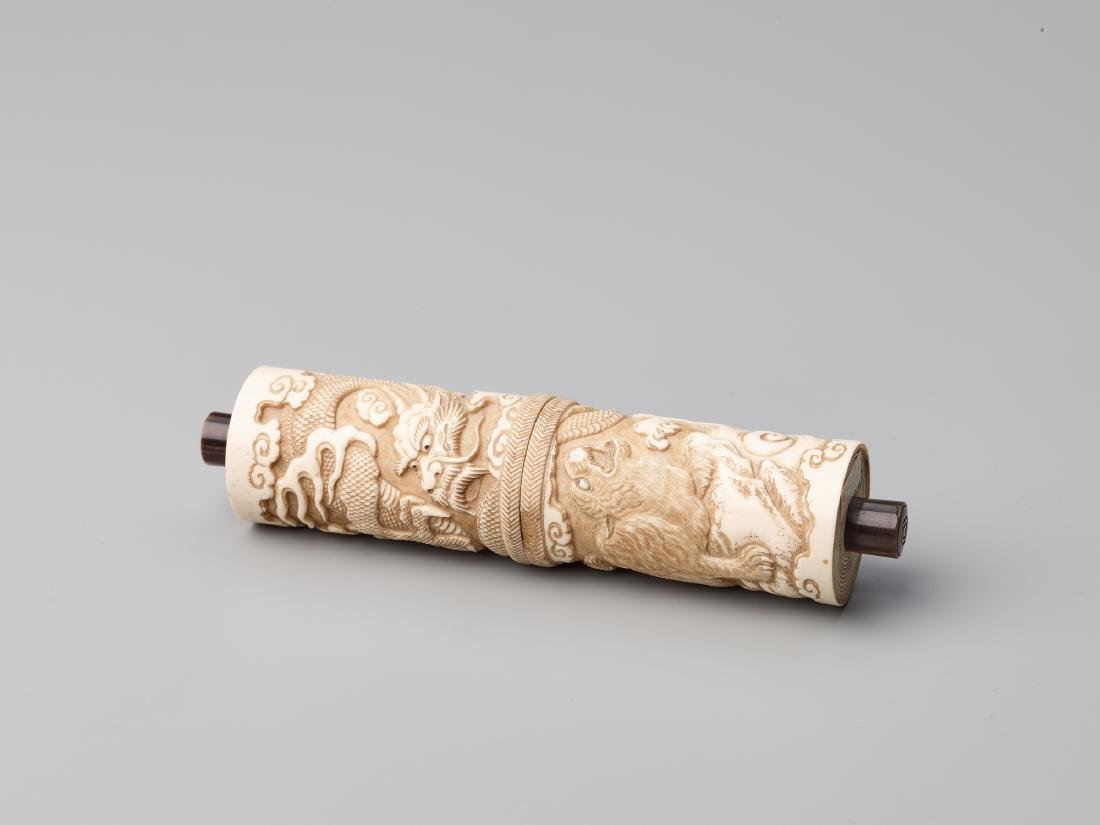 A JAPANESE STAG ANTLER SCROLL CASE FOR A BUDDHIST SUTRA - 9