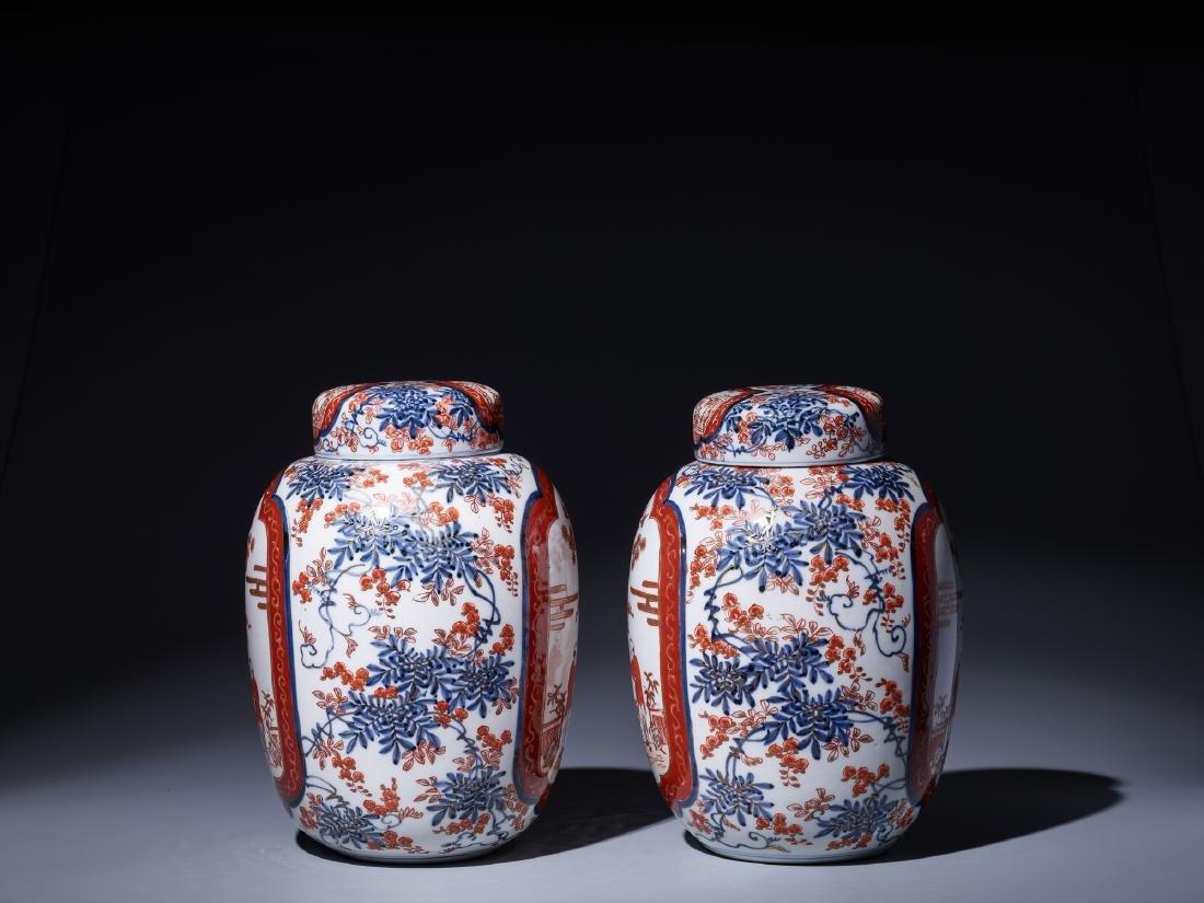 A PAIR OF IMARI PORCELAIN GINGER JARS WITH LIDS - 2