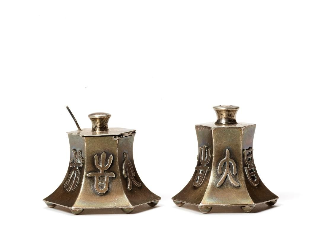2 CHINESE EXPORT SILVER CONTAINERS FOR SALT AND PEPPER