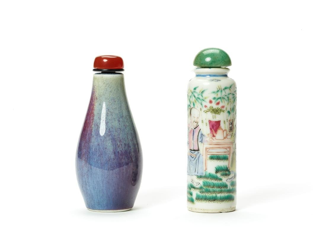 TWO 19th CENTURY PORCELAIN SNUFF BOTTLES - 2
