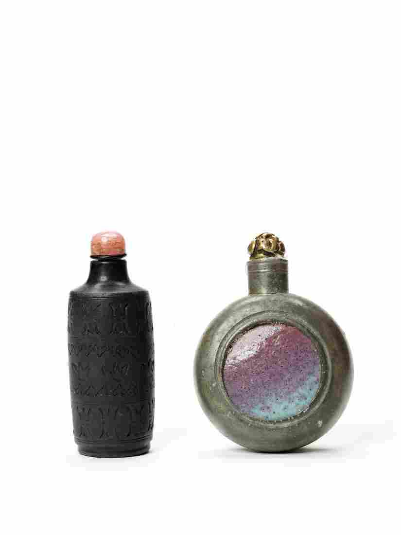 A STONEWARE AND A 'PEWTER AND CERAMIC' SNUFF BOTTLE