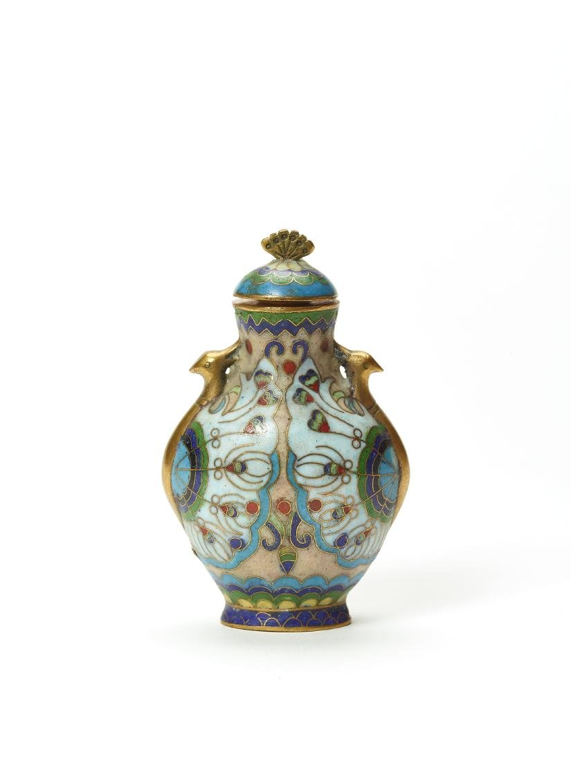 A CLOISONNE ENAMEL AND GILT SNUFF BOTTLE