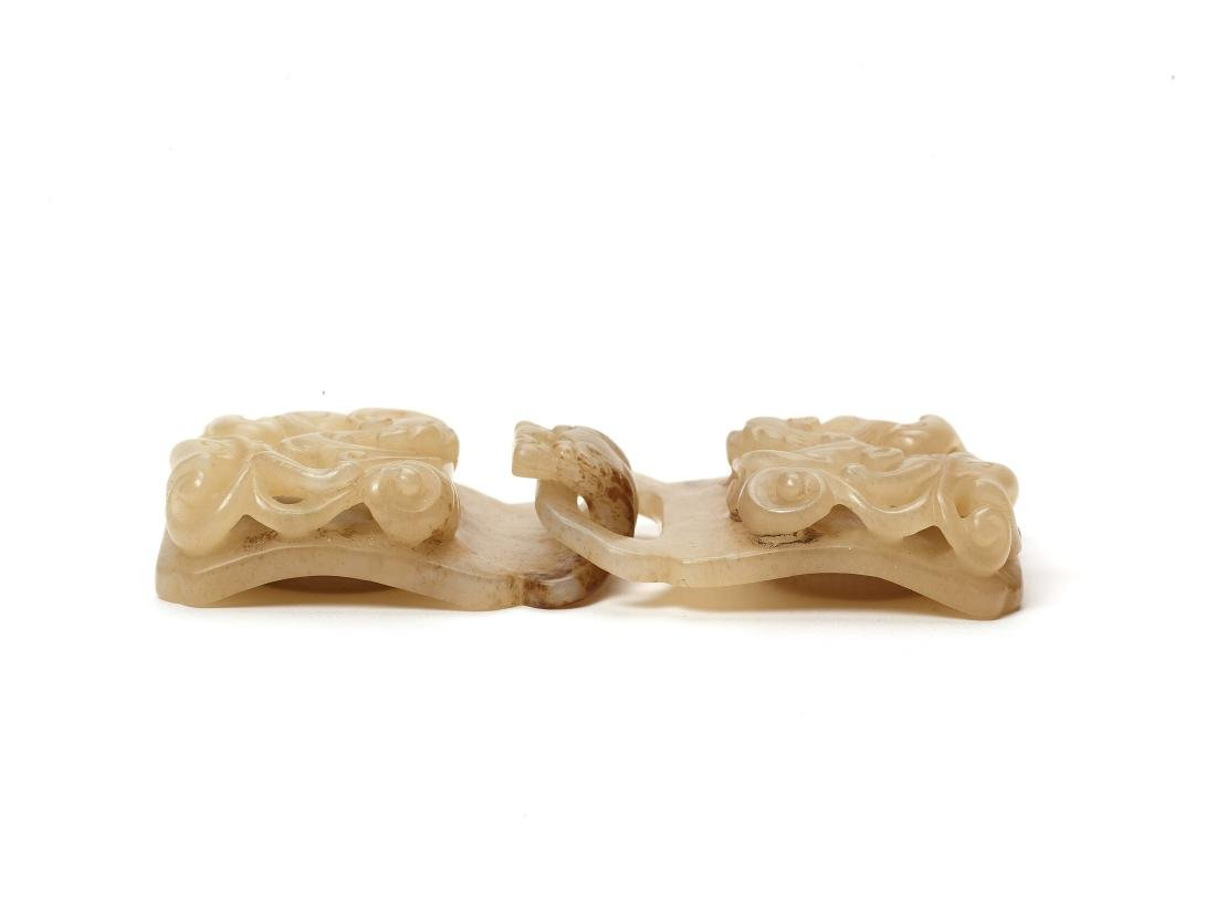 A CELADON JADE BELT BUCKLE WITH CHILONG AND LINGZHI - 3