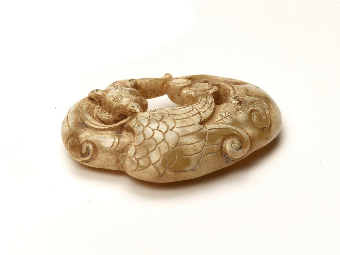 A WARRING STATES STYLE JADE PENDANT WITH A PHOENIX - 2