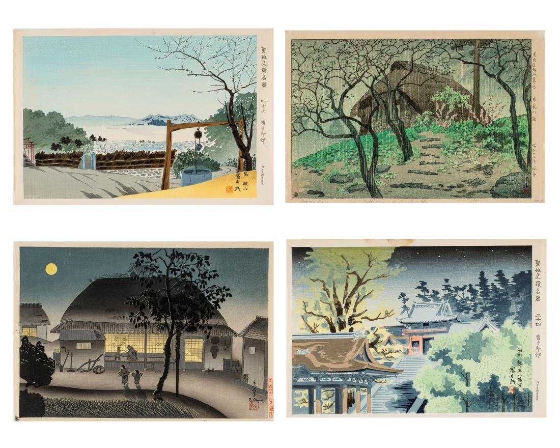 FOUR JAPANESE COLOR WOODBLOCK PRINTS, 1930s-1950s