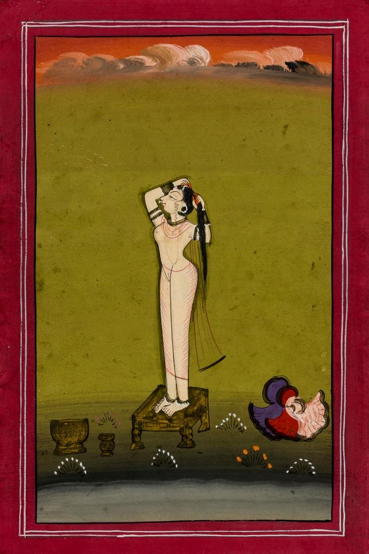 AN EROTIC MINIATURE PAINTING - INDIA, 19TH - 20TH C.