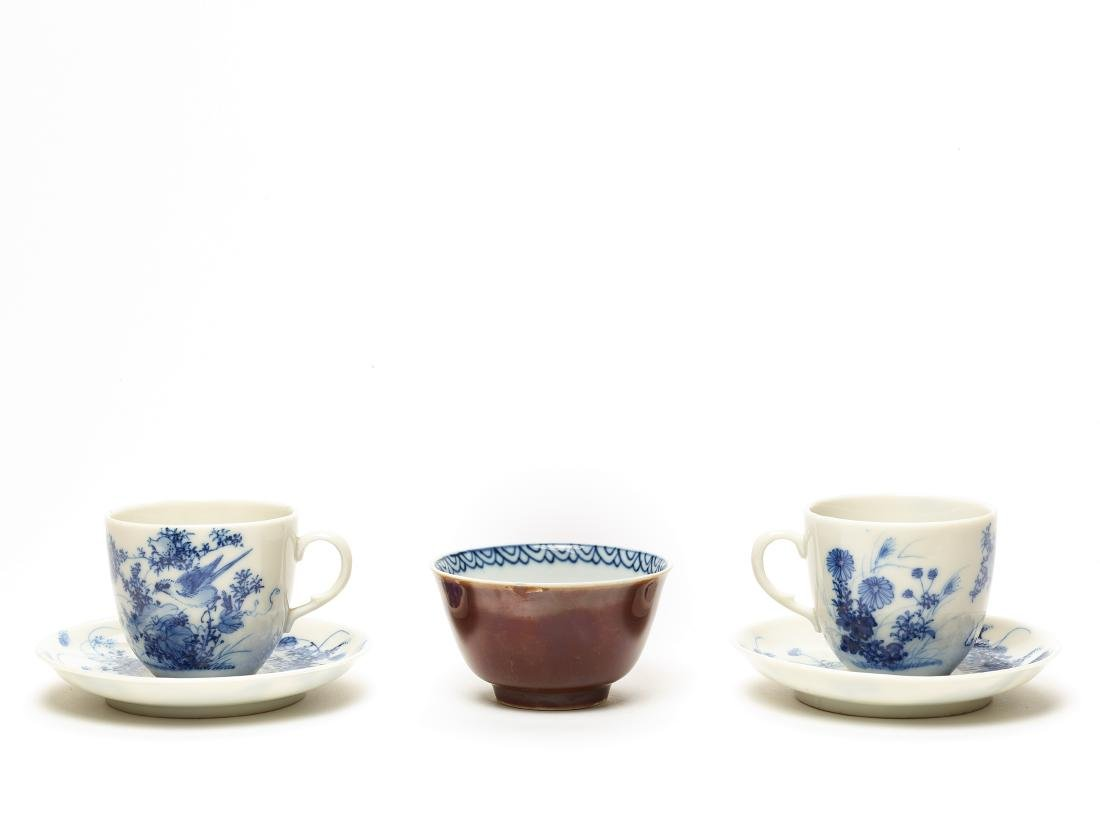 TWO HIRADO CUPS AND SAUCERS AND A MEISSEN CUP, 19TH C.