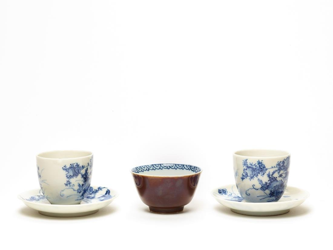 TWO HIRADO CUPS AND SAUCERS AND A MEISSEN CUP, 19TH C. - 3