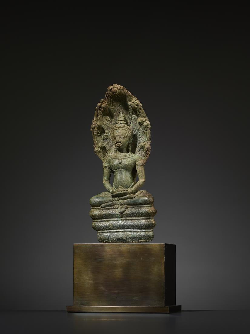 A KHMER BRONZE BUDDHA MUCHALINDA - 2