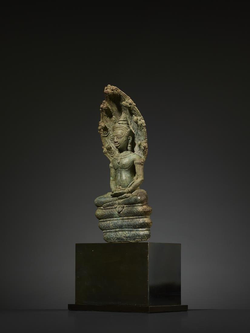 A KHMER BRONZE BUDDHA MUCHALINDA - 3