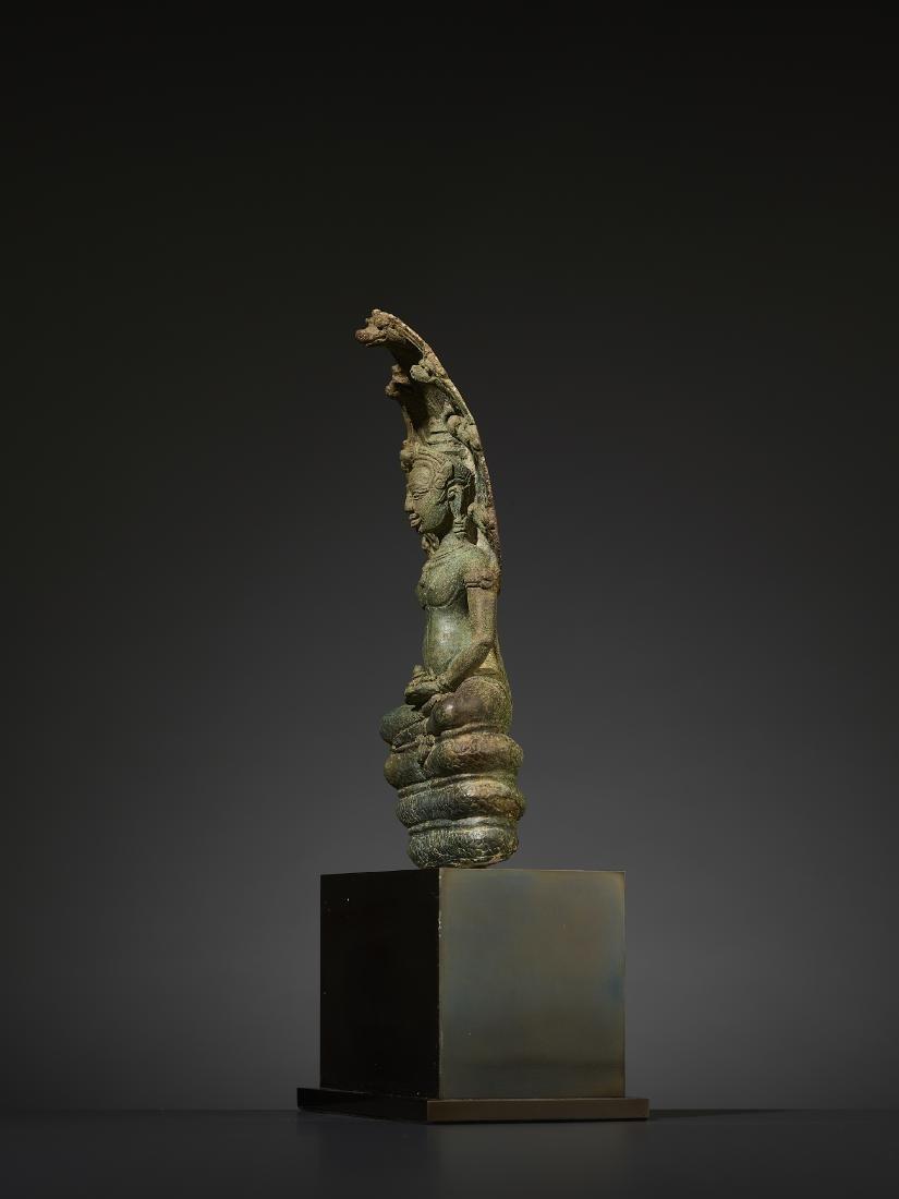 A KHMER BRONZE BUDDHA MUCHALINDA - 4