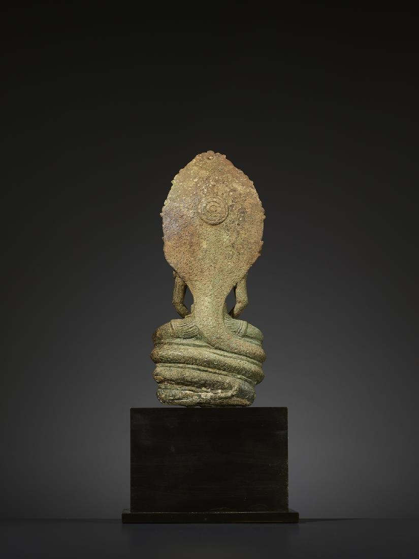 A KHMER BRONZE BUDDHA MUCHALINDA - 5