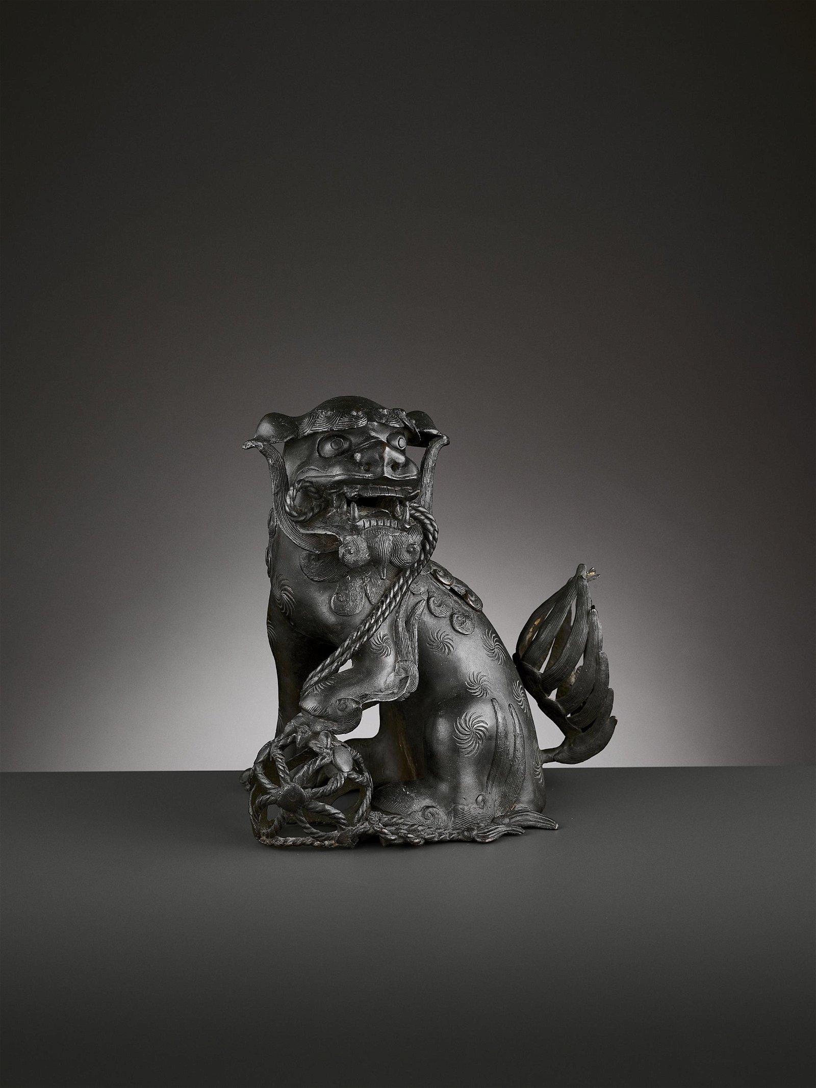 A BRONZE 'BUDDHIST LION' CENSER, MING