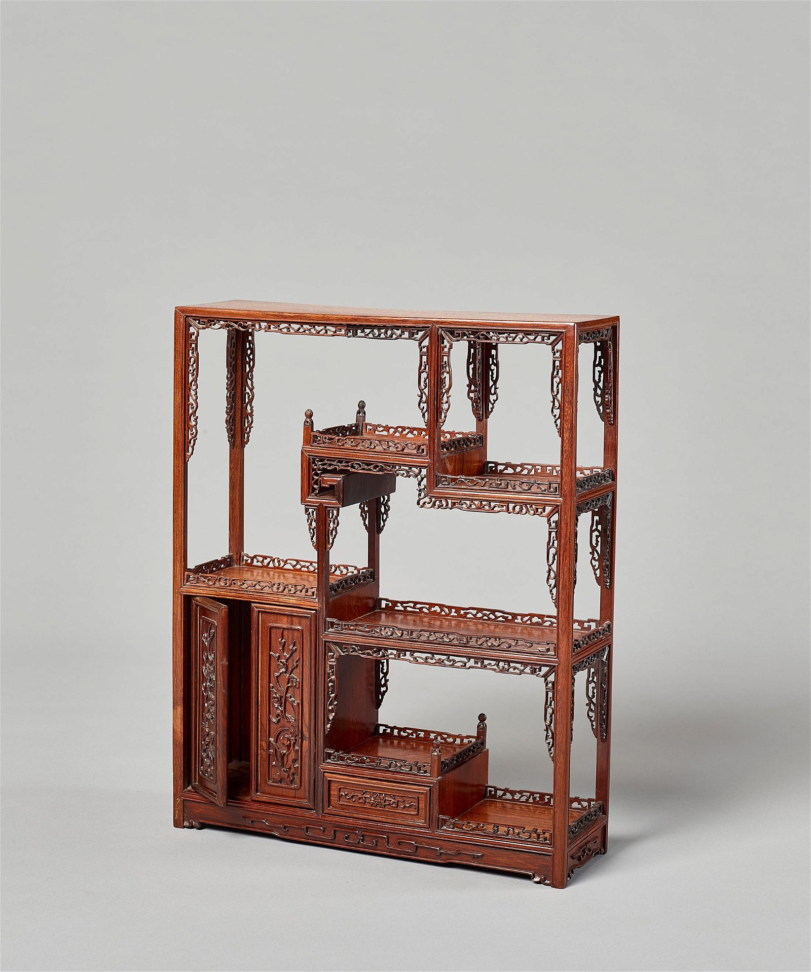 A HARDWOOD DISPLAY TABLE-CABINET, LATE QING