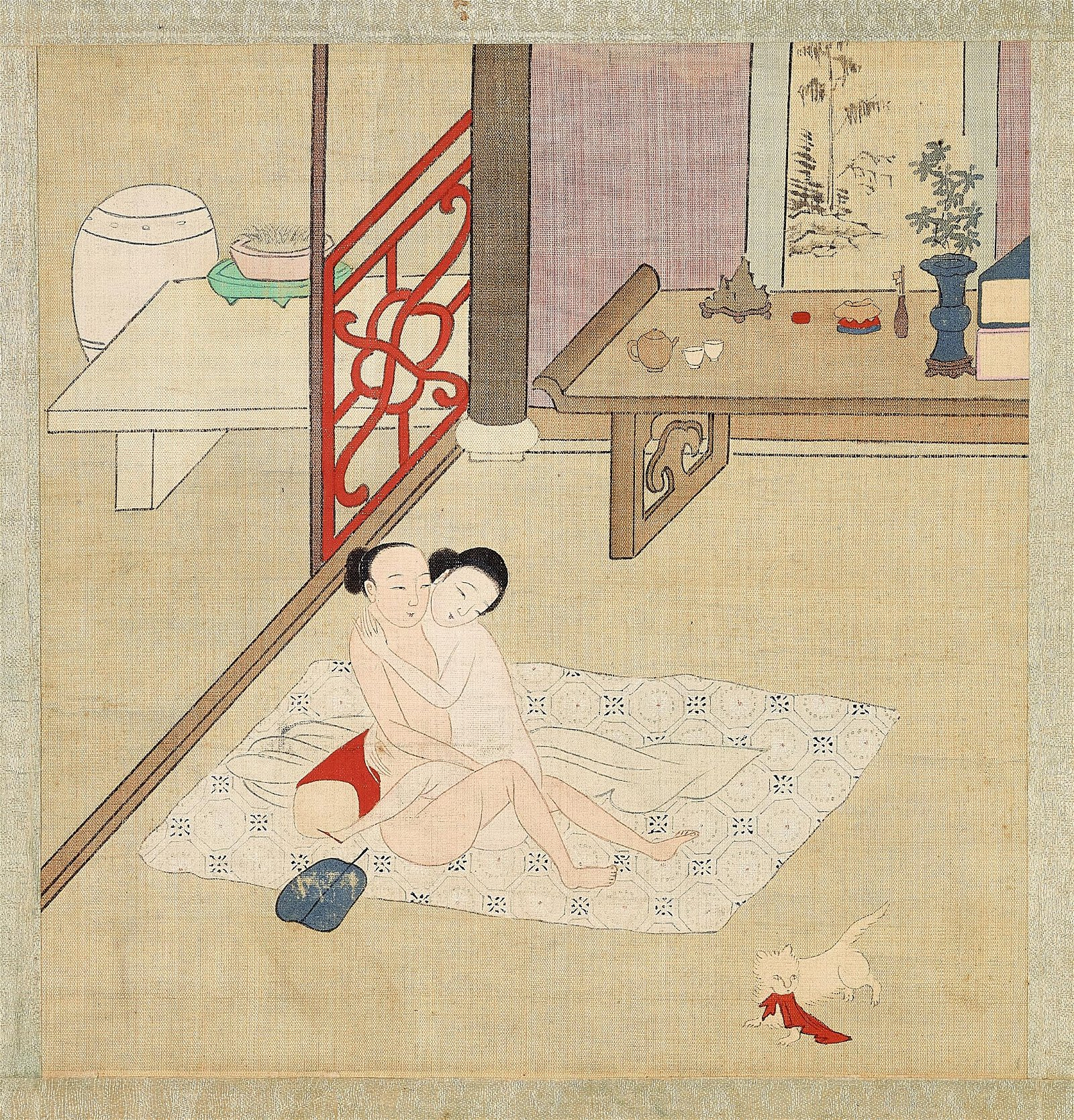 AN UNUSUAL EROTIC PAINTING, QING