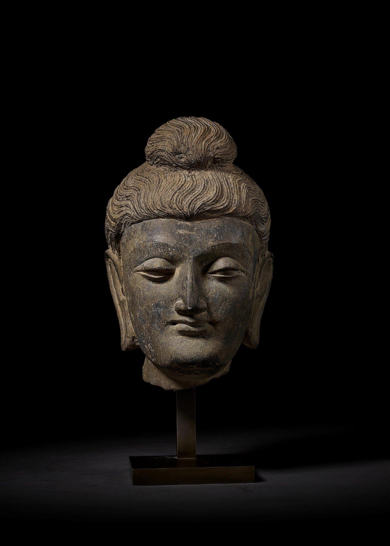 A LARGE HEAD OF BUDDHA, GANDHARA