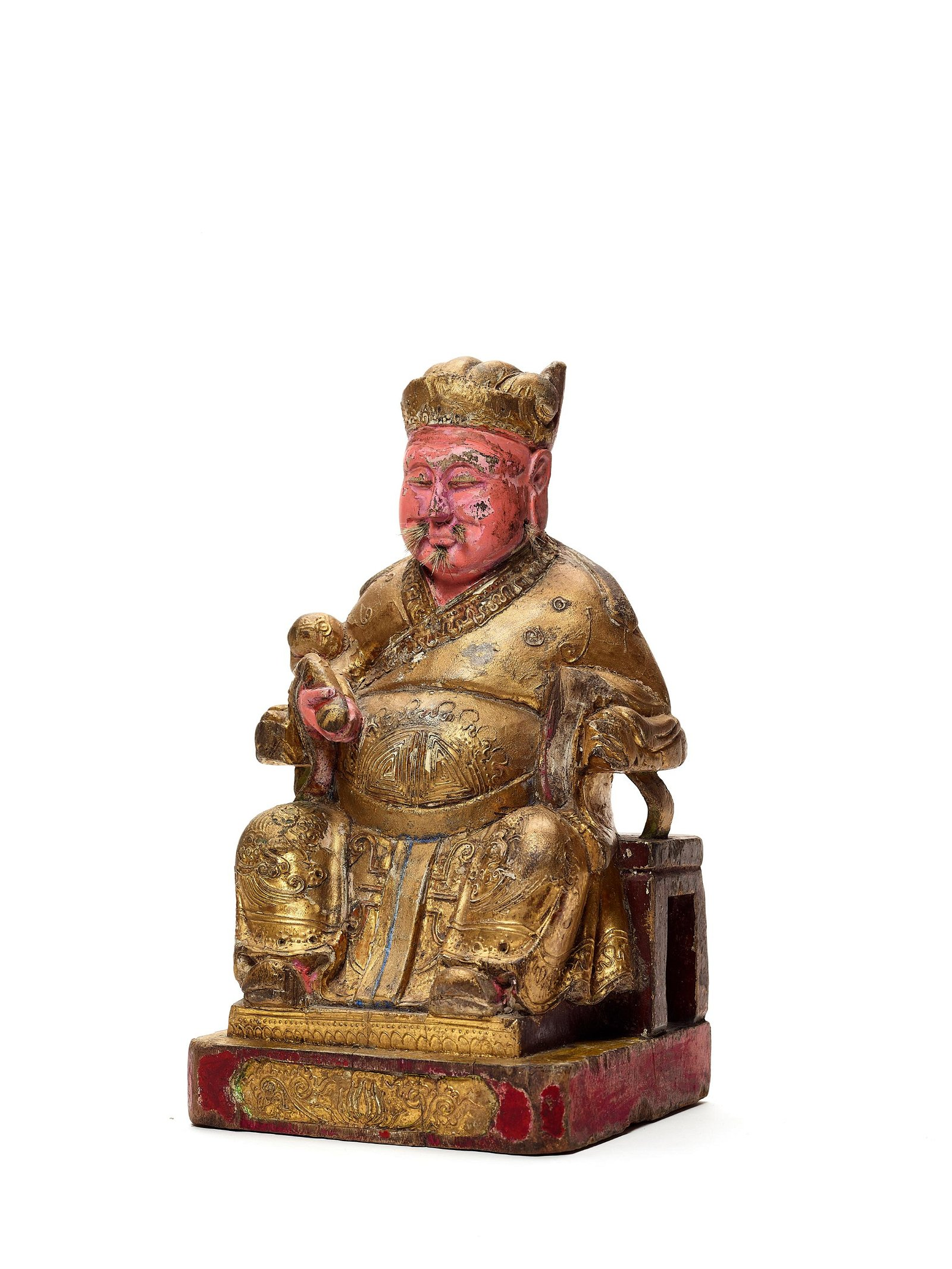 A LACQUERED AND GILT WOOD FIGURE GUANDI, 17-18c.