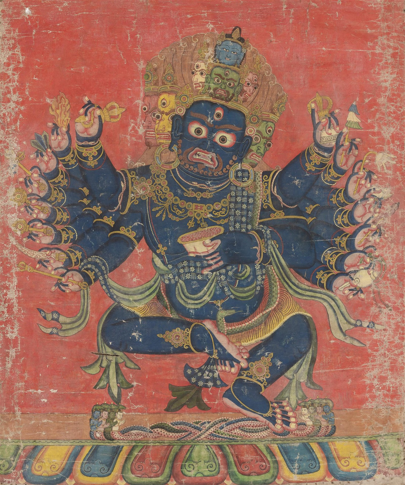A THANGKA OF CHATURMUKHA MAHAKALA, 17TH CENTURY