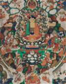 AN ICONIC THANGKA OF BUDDHA RESIDING IN SUKHAVATI