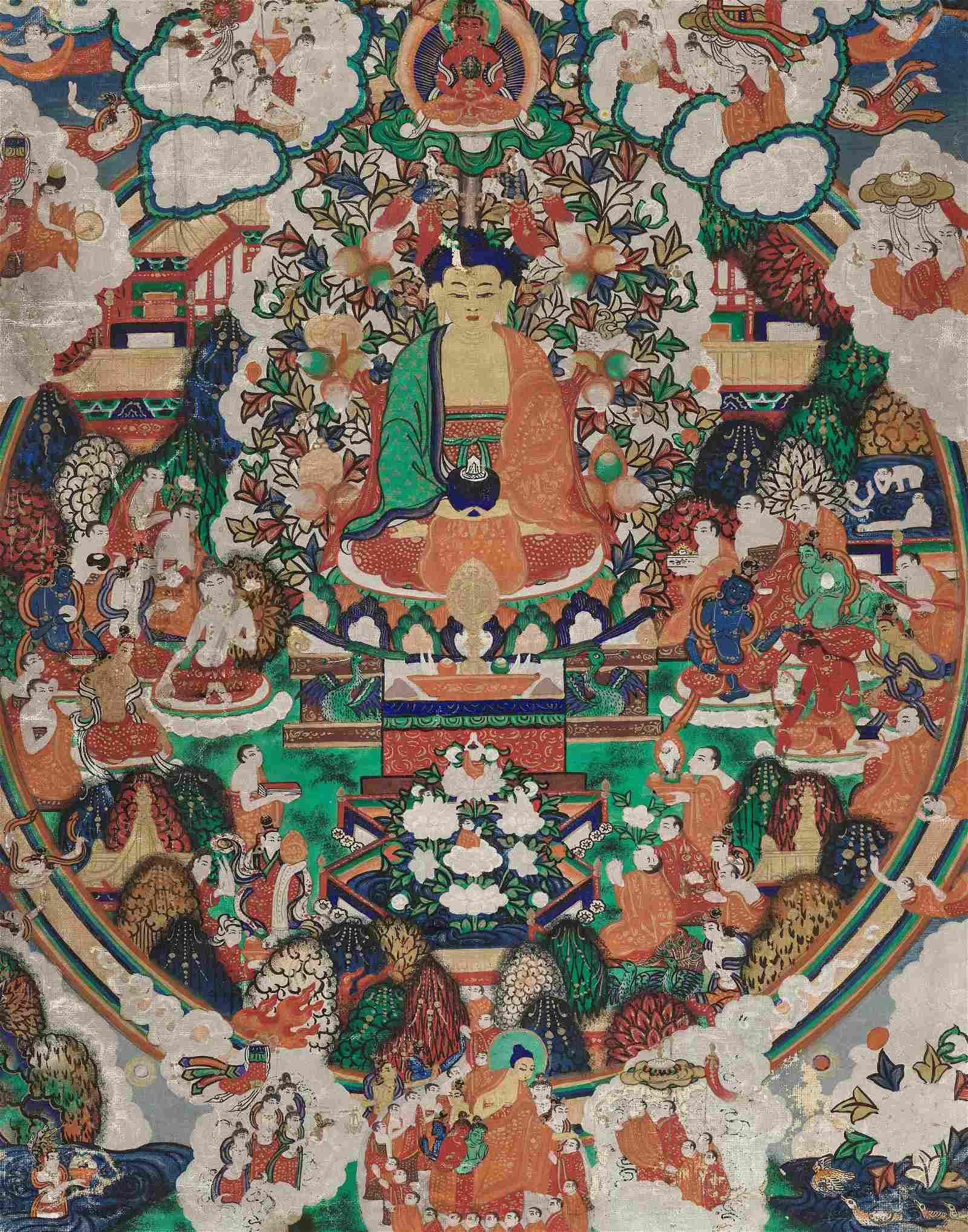 AN ICONIC THANGKA OF BUDDHA RESIDING IN SUKHAVATI