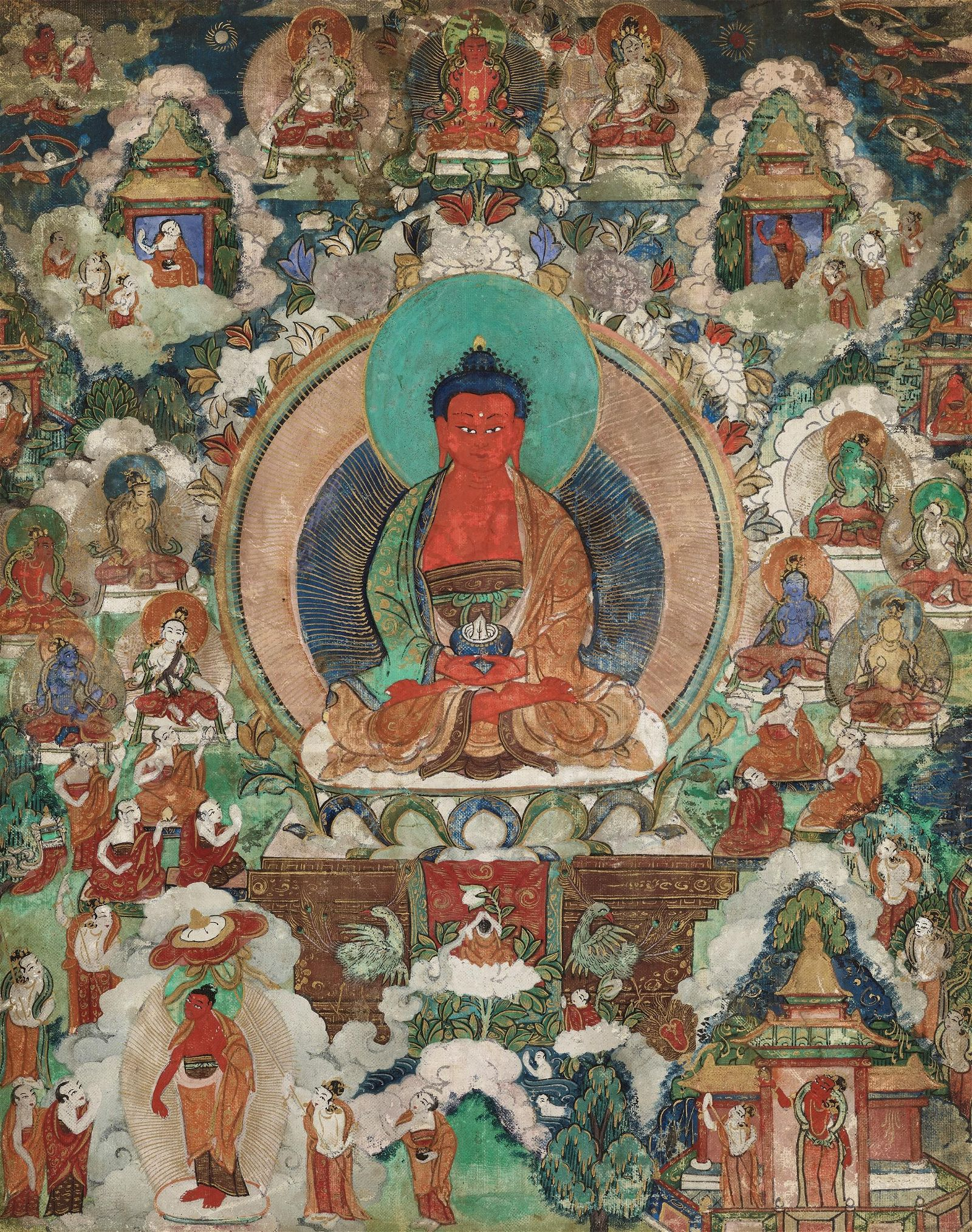 A THANGKA OF THE RED BUDDHA AMITABHA IN SUKHAVATI