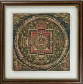 A RARE THANGKA WITH A MANDALA OF BUDDHA, 18TH CT