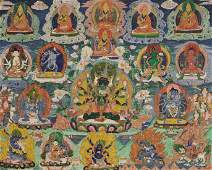 A THANGKA OF YOGAMBARA WITH HIS CONSORT 18TH CT