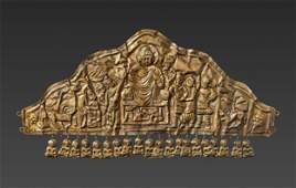 A GANDHARAN GOLD DIADEM DEPICTING BUDDHA DEFYING MARA