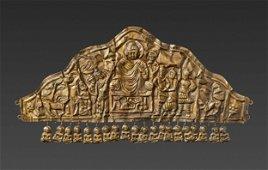 A GANDHARAN GOLD DIADEM DEPICTING BUDDHA DEFYING MARA