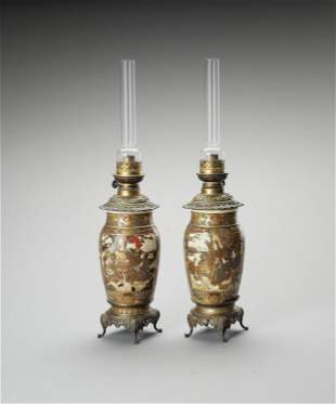 TWO KUTANI PORCELAIN VASES MOUNTED AS OIL LAMPS