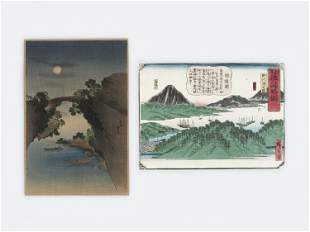 TWO JAPANESE COLOR WOODBLOCK PRINT OF LANDSCAPES