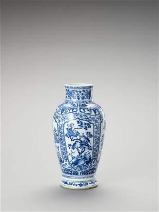 A LARGE BLUE AND WHITE PORCELAIN BALUSTER VASE