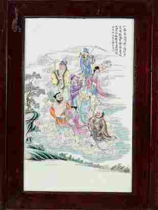 A PORCELAIN WALL PLAQUE WITH THE EIGHT IMMORTALS