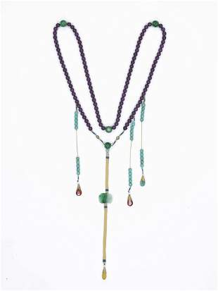 A JADE AND TURQUOISE COURT NECKLACE, CHAOZHU, LATE QING