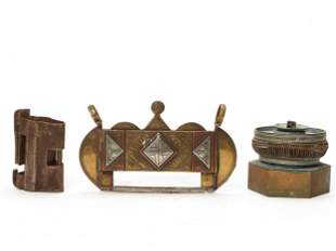 LOT OF TWO CHINESE PADLOCKS AND AN OPIUM LIGHT