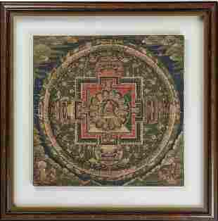 A RARE THANGKA WITH A MANDALA OF BUDDHA