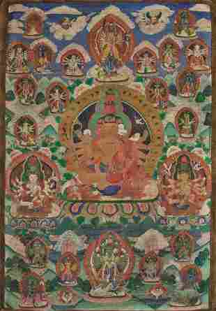 A VERY LARGE THANGKA OF SHIVA AND CONSORT, NEPAL