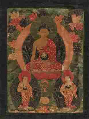 A TIBETAN THANGKA OF BUDDHA SHAKYAMUNI, C. 1870