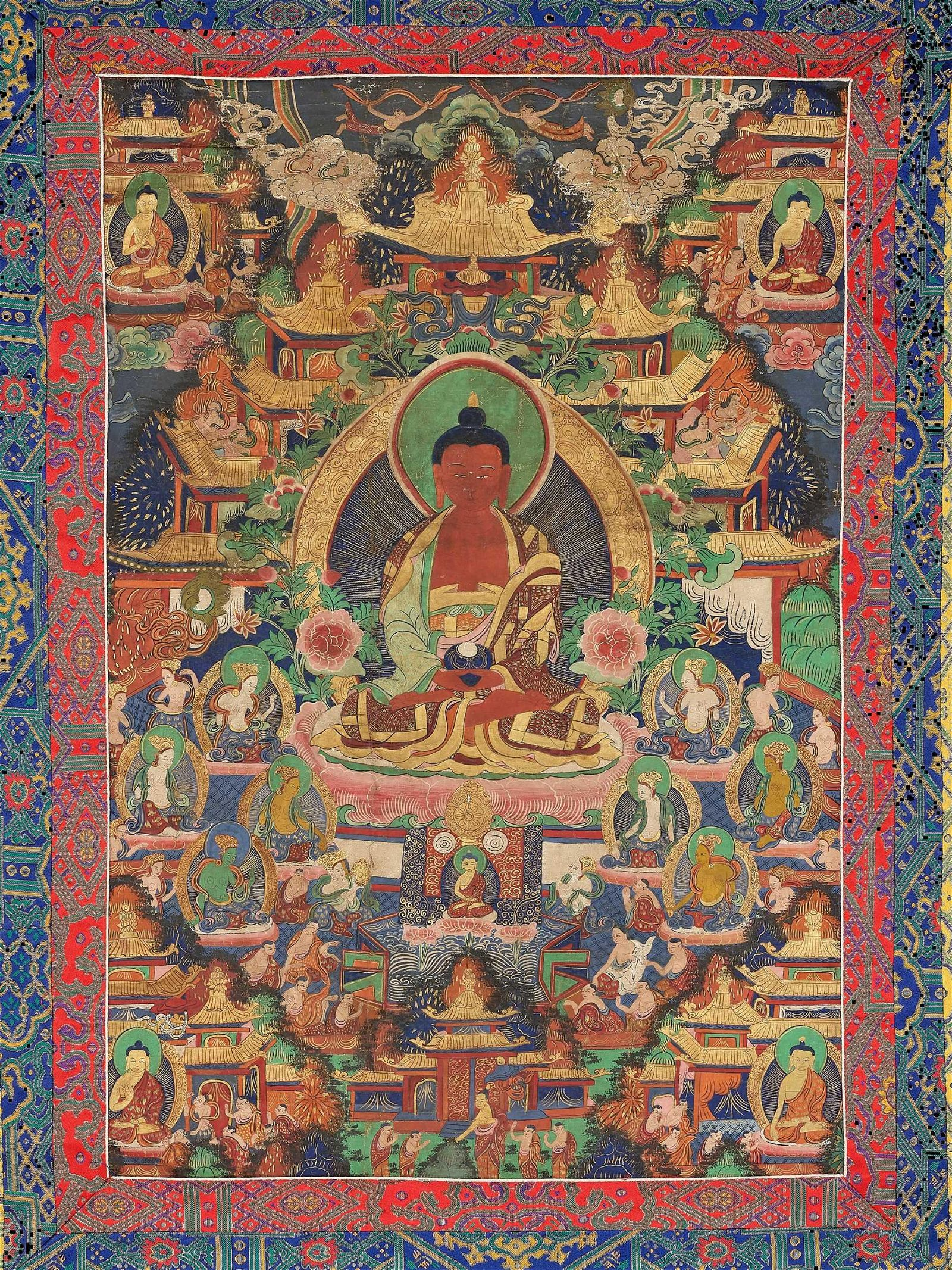 A TIBETAN THANGKA DEPICTING BUDDHA AMITABHA, C. 1900