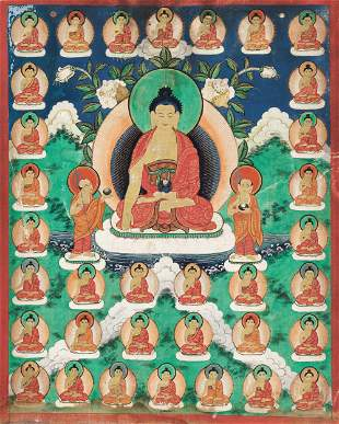 A FINE '35 BUDDHAS' THANGKA, TIBET 19TH CENTURY