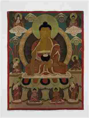 A TIBETAN THANGKA DEPICTING BUDDHA AMITABHA