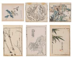 SIX CHINESE COLOR WOODBLOCK PRINTS, 18th CENTURY