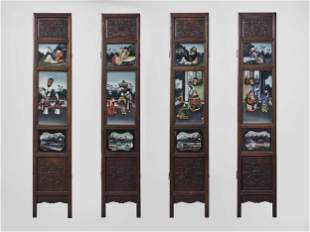 A HARDWOOD AND REVERSE GLASS PAINTED FOUR-PANEL SCREEN