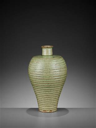 A CELADON-GLAZED MEIPING, YUAN TO EARLY MING DYNASTY