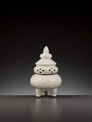 A WHITE-GLAZED ANHUA-DECORATED CENSER, 12TH-14TH